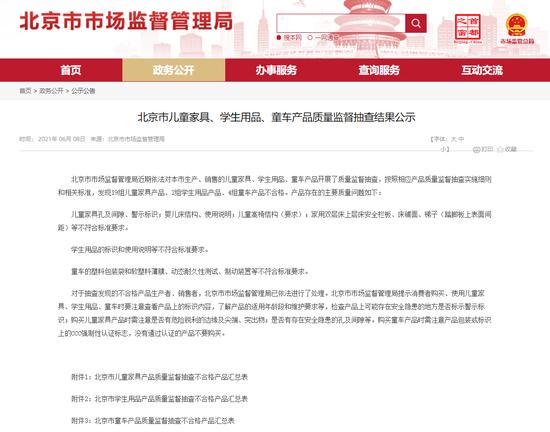 北京市市场监管局:19组儿童家具产物抽检分歧格